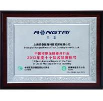 2012中国按摩保健器具行业年度十佳诚信企业